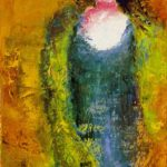 La femme en bleu Huile sur empâtement 16x8 pouces 175 $